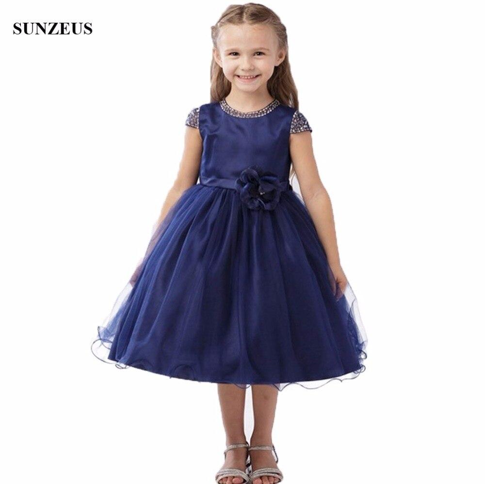 A-ligne perlée o-cou Cap manches fleur fille robe thé longueur bleu marine robes de mariée livraison gratuite FLG063