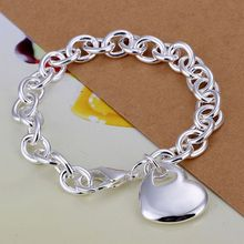Fina del verano del estilo de plata chapada pulsera 925-sterling-silver joyería bijouterie heart chain pulseras para mujeres hombres SB273