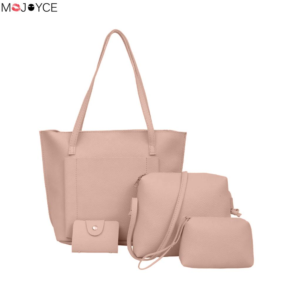 4pcs Woman PU Leather tote bag set Female Solid Large Tote Bag with Casual Messenger Bag Key Purse bolsas-de-couro-feminina HOT