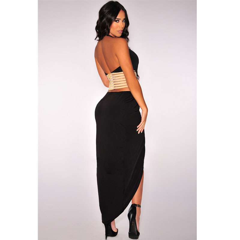 Women Black White Split Bodycon Maxi Dress Sexy Club Dress 2016 Halter V  Neck Ankle Length Long Dress Ladies Bandage Dress S2084-in Dresses from  Women s ... 87addd8dfc8f