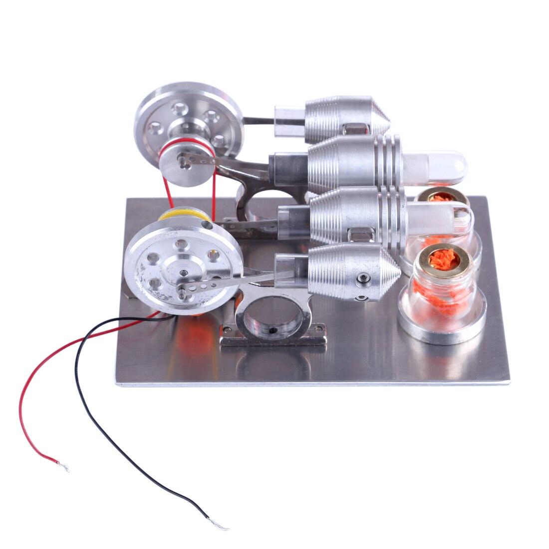Jouet d'expérimentation de Science de physique de modèle de moteur de Stirling de Double cylindre pour le Kit d'apprentissage d'étudiant