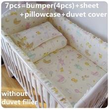 Акция! 6/7 шт. кроватки наборы для новорожденных комплект постельных принадлежностей хлопка унисекс детская кроватка постельных принадлежностей, 120*60/120*70 см