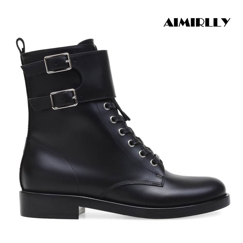 Aimirlly Women Ladies Round Toe Flat Heel Lace Up Side Zip Ankle Boots Ankle Buckle Autumn