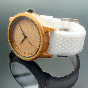 Image 5 - BOBO VOGEL WB07 Bambus Holz Uhr für Männer Einfache Stil Holz Zifferblatt Gesicht Quarzuhr mit Weichen Silikon Strap Extra band als Geschenk