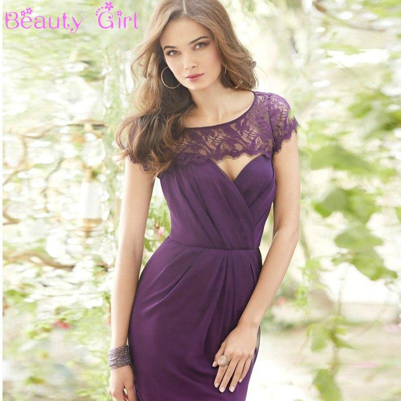 Elegant Lace Sleeve Short Wedding Dresses 2016 Scoop Neck: Simple Cheap Long Bridesmaid Dresses Scoop Neck Short