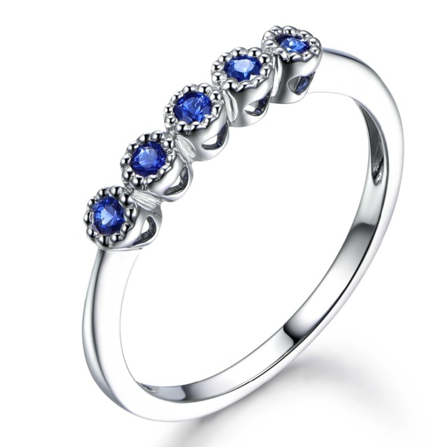 54726194b0456 US $299.0 |Solid 14k White Gold Natural Blue Sapphire Bezel Set Engagement  Ring Antique Vintage Wedding Bands Women Mens Rings Decoration-in Rings ...