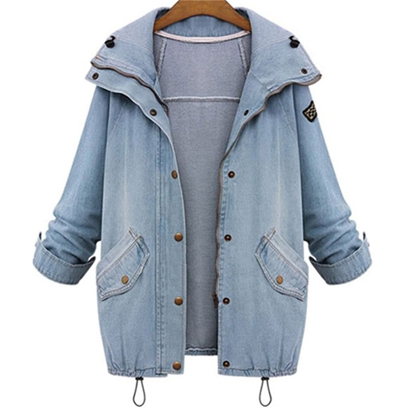 Autumn Hooded Drawstring Boyfriend Trends Jean Two Piece Coat Long Sleeve Single Breasted Denim Jacket in Jackets from Women 39 s Clothing