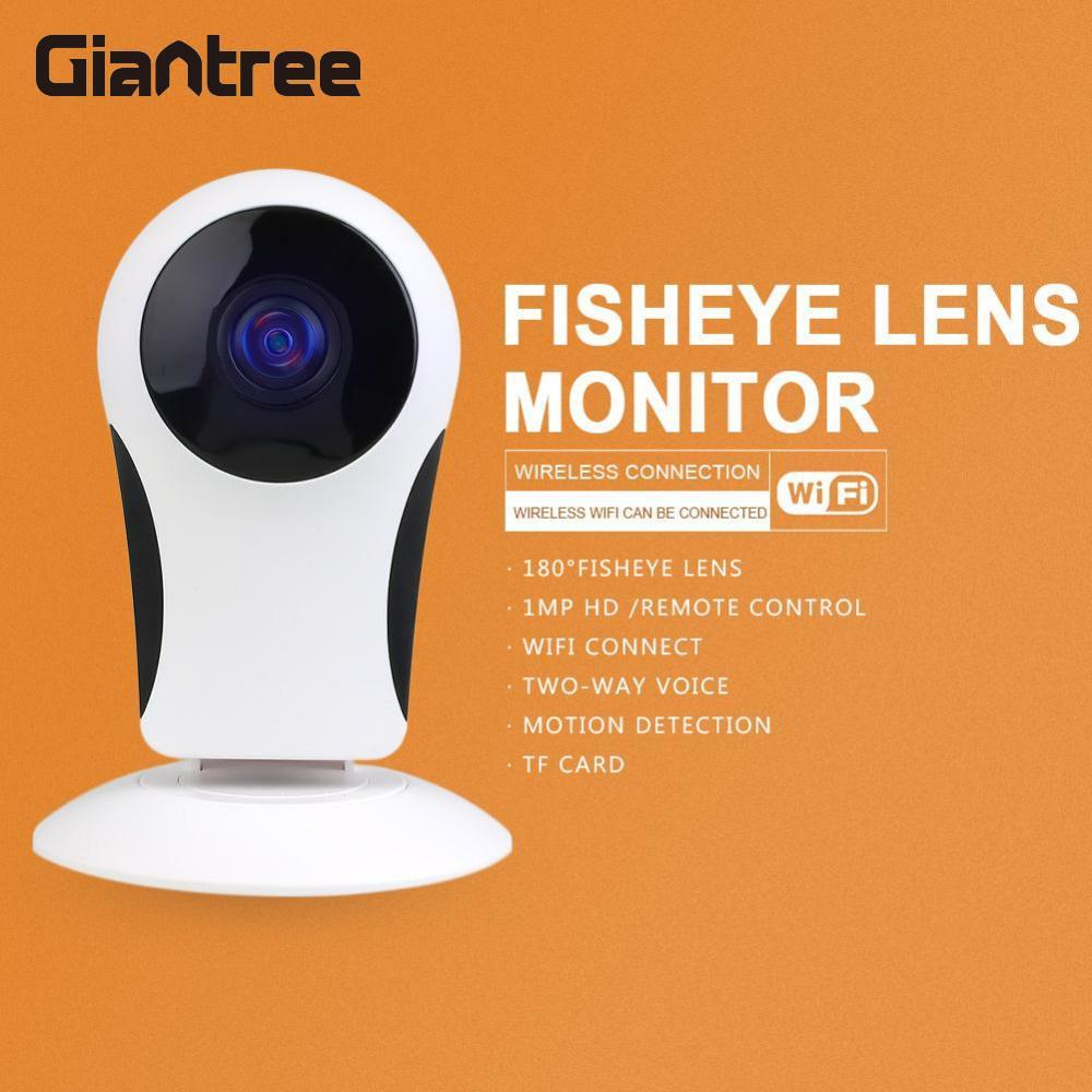 Giantree Home Security Wireless CCTV Fisheye WiFi IP Camera P2P IR Night Vision 2-Way Audio Voice Intercom Prompt Baby Monitor