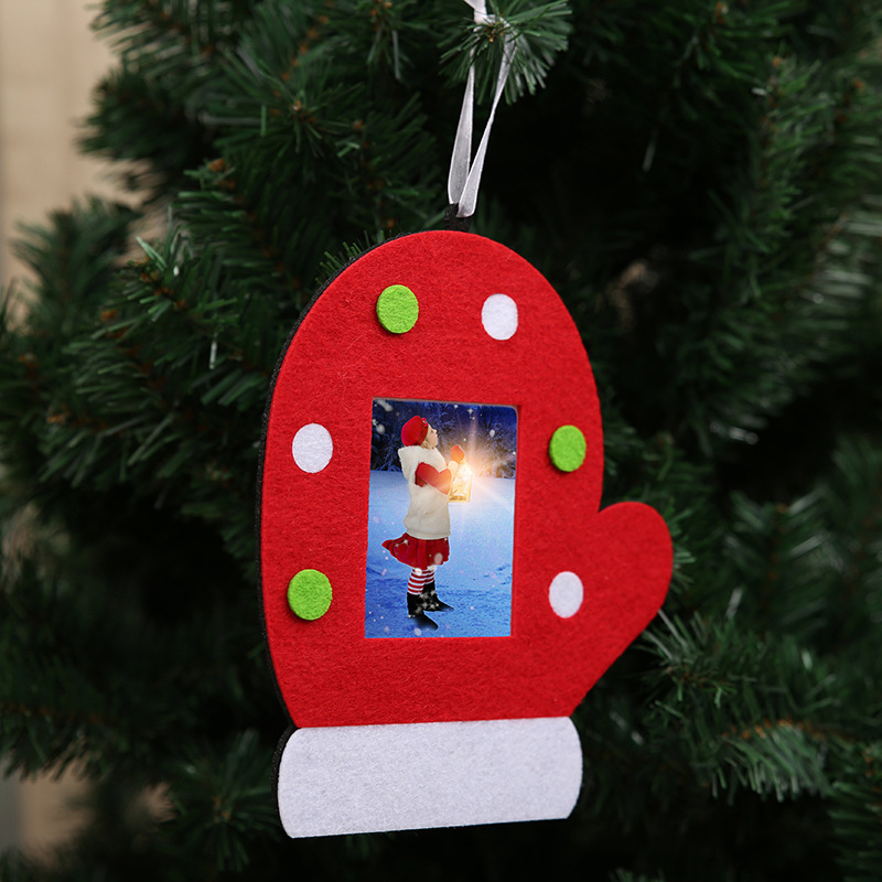 Christmas Non Woven Fabric Tree Glove Hat Photo Frame Picture Holder