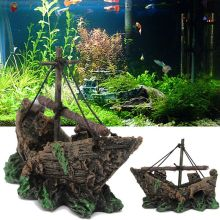 Fish Tank No Fading Resin Ship Mini Fish Tank Pirate Boat Ornaments for Home Garden Aquarium Decoration Garden Fish Tank Decor