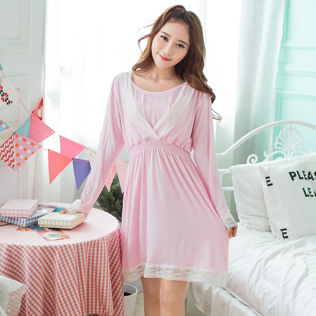 4abfed2139 Maternity Pink Sleep Dress Lace Patchwork Breastfeeding Sleepwear Long  Sleeve Nightgowns Pregnant Women Spring Autumn Nightdress