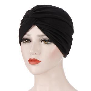 Image 5 - Gorro con turbante plisado para mujer, gorro musulmán para quimio, ropa interior, tocado, fundas para pañuelos de pelo, accesorios de moda