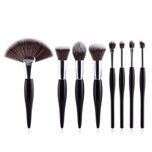 8 pcs/set makeup brush kit soft synthetic head wood handle brushes fan flat brush set for women eyeshadow facial make up