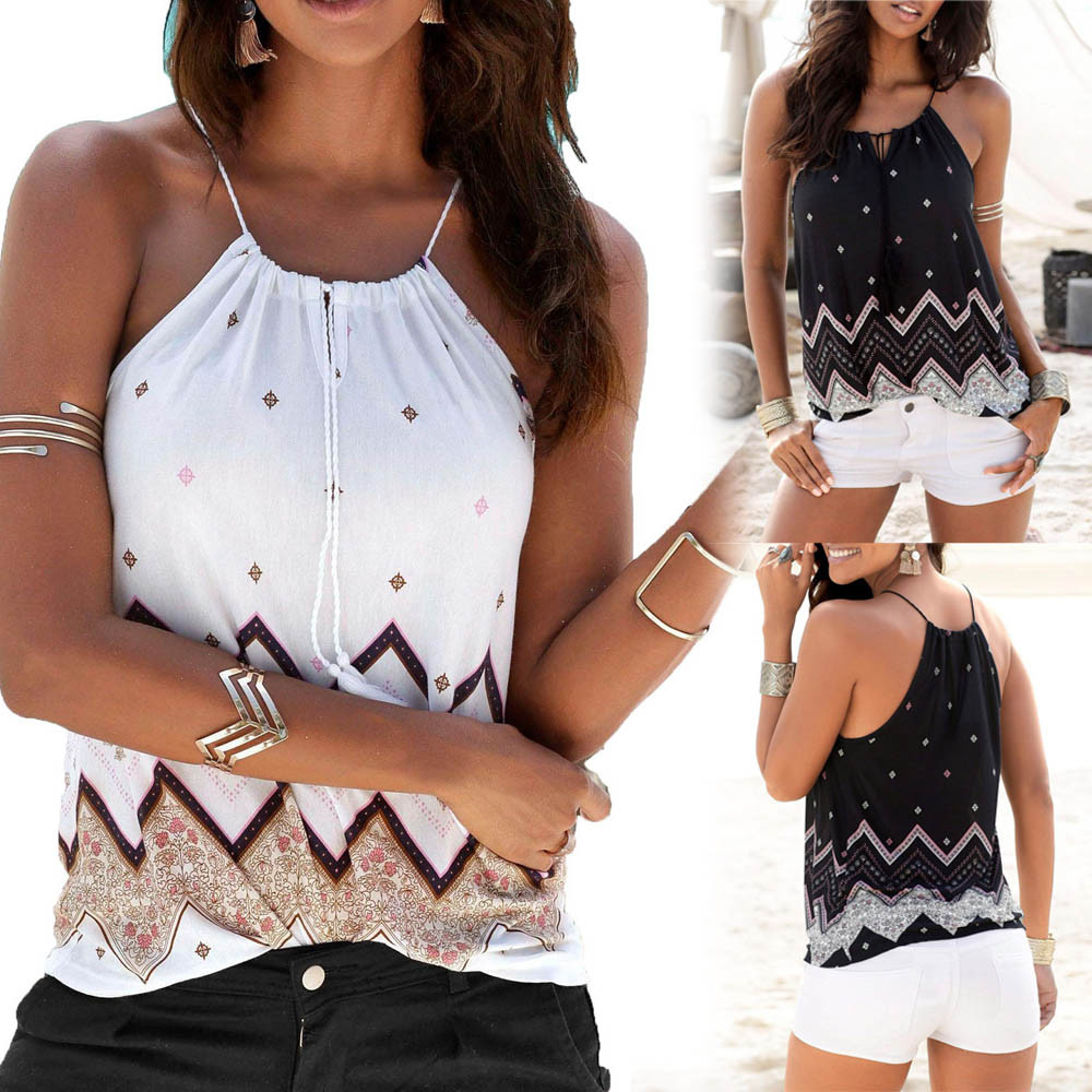 Vest Women Blouse Boho Camis Fashion Tops Casual-Tank Loose Streetwear Round-Neck Sexy