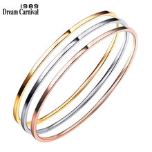 DreamCarnival 1989 60mm Multicolor 3 Pieces Set Fashion Stainless Steel Cuff Bracelets Stacking Bangles for Women Femme PSBN06MU(China)