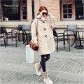 Сплошной Цвет С Капюшоном Женщин Осень Шерстяные Смеси Пальто Женский Светло-Коричневый С Длинным Осень Шерстяное Пальто Abrigos Mujer A2659