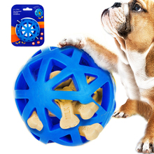 HELLOMOON Pet Chew Toys Ball Eco-friendly Natural Rubber Dog Leakage Hollow Blue Feed Interactive Training Toy