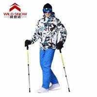 Профессиональный Для мужчин лыжный Костюмы Куртки + Брюки для девочек Теплые Зимние Водонепроницаемый Лыжный Спорт Сноубординг Костюмы бр