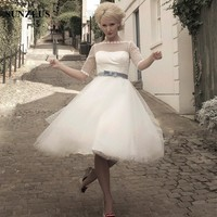 Tulle Tea Length Wedding Gown See Though Half Sleeve A Line Modern Vintage Wedding Dresses Vestido