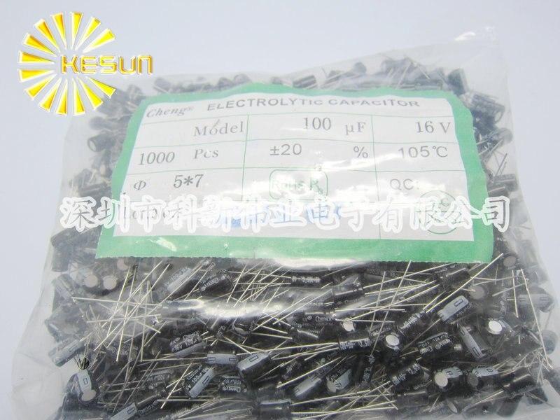 1000pcs X 100 New Chengx 100UF 16V 5X7 Aluminum Electrolytic font b Capacitor b font Connector