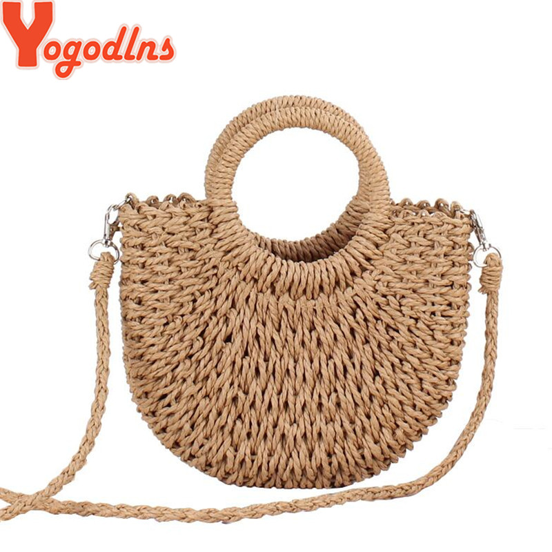 Yogodlns Handmade Half-Round Rattan Woven Straw Bag Summer Women Messenger Crossbody Bags Girls Small Beach Handbag 2019