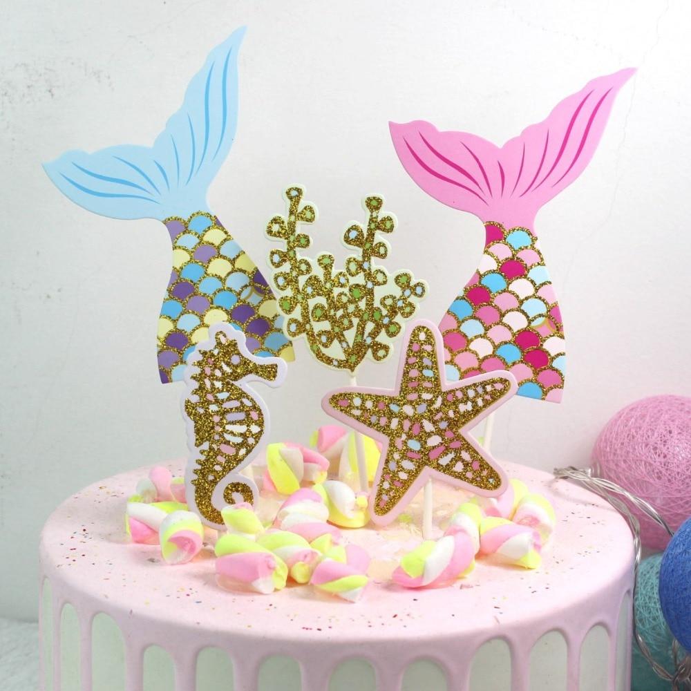 Hot Sale Birthday Party Decorations 1 Set Mermaid Theme Cake