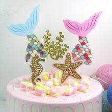 Birthday Party Decorations 1 Set Mermaid Theme Cake Decoration Baby Shower Wdding Decorations.Q