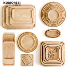 KOMOREBI Chinese Style RUBBER Wood plate dishes fruit tray walnut plates kitchen dark solid wood bowl Wooden Tableware