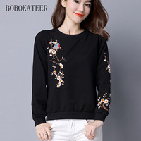 BOBOKATEER Embroidery Long Sleeve Loose O Neck Black White Women Tops T Shirts T Shirt T
