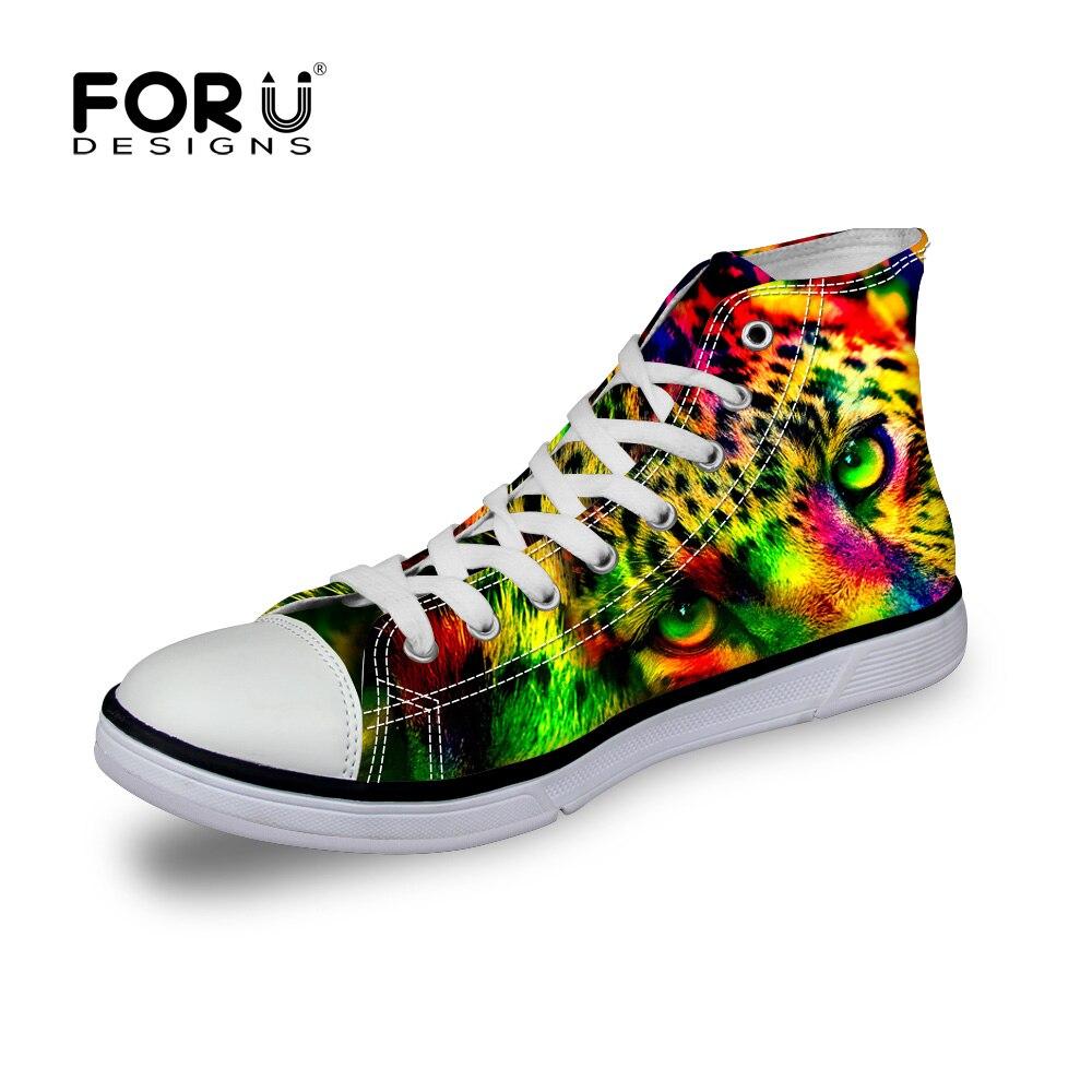 Forudesigns nuovo arrivo uomo confortevole moda scarpe di tela high top scarpe  di stoffa tacco piatto 3d stampa animale di tigre cat in america in ... c7e329da611