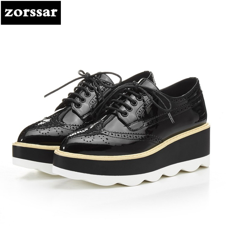 {Zorssar} 2018 New Genuine Leather female shoes casual pointed toe Wedges platform High heels pumps shoes fashion women shoes 2017 new women s genuine leather pumps female casual shoes sexy lady medium heels fashion high wedges platform flower slip on