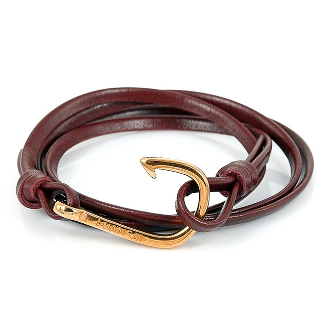 Men Fish Hook Bracelet Women Jewelry Whole 24k Rose Gold Stainless Steel Anchor Charm Genuine Leather