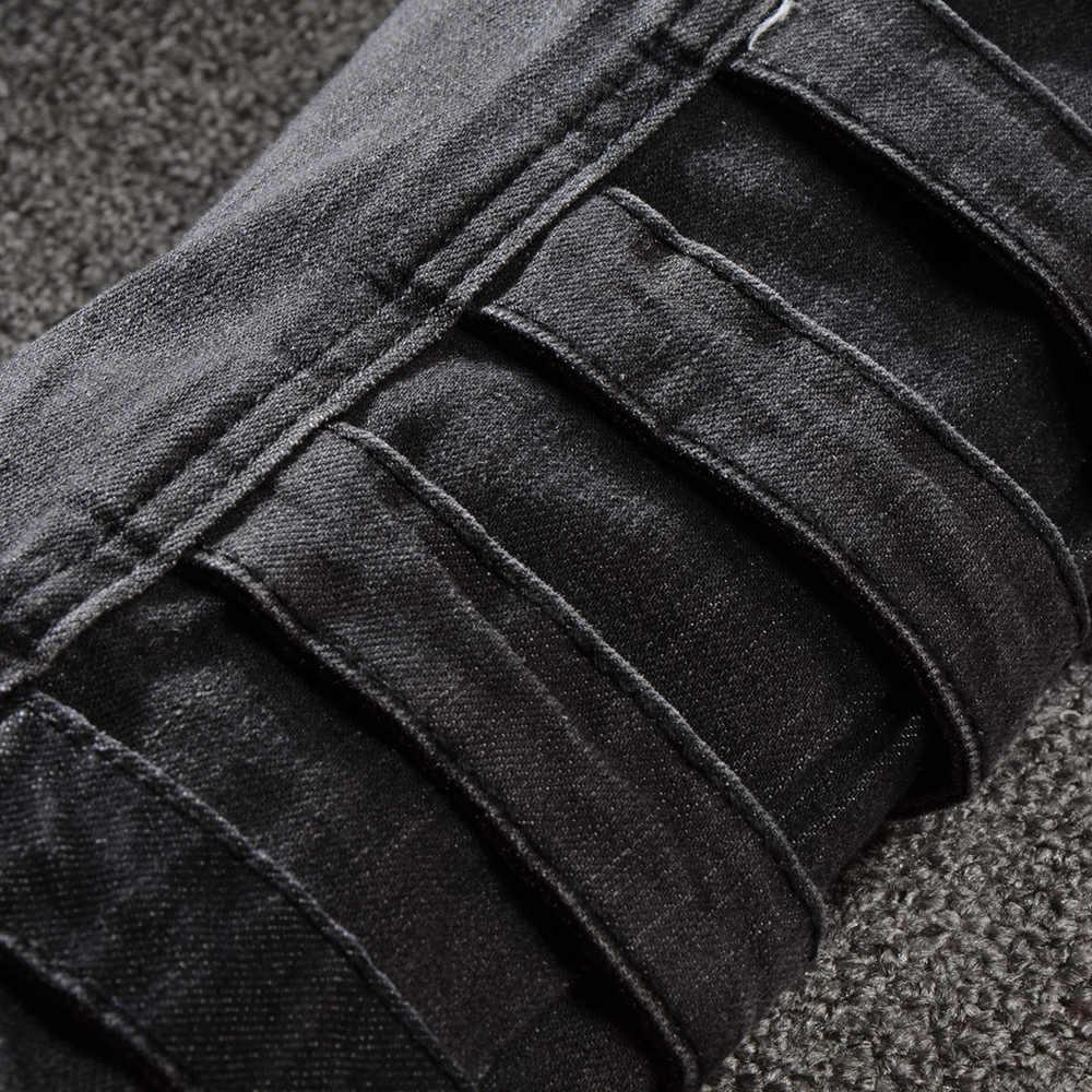 Sokotoo мужские карманы Лоскутные черные карго байкерские джинсы для мотоцикла Плюс Размер slim fit плиссированные стрейч джинсовые брюки