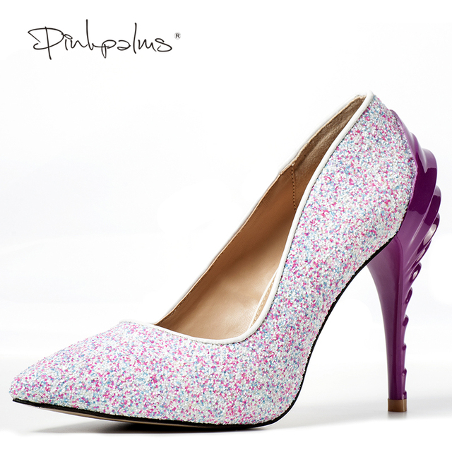 5576cfeaa4a Brand Pink Palms Summer Shoes Pointed Toe Pumps Black Pink Multi Glitter  Sexy High Heel Shoes Sexy Party Wedding Women Shoes