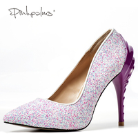 Brand Pink Palms Summer Shoes Pointed Toe Pumps Black Pink Multi Glitter Sexy High Heel Shoes Sexy Party Wedding Women Shoes