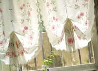 Classic pastoral europe style rose flower bamboo hemp thick cloth curtain roman blinds kitchen curtains 82*175/235cm