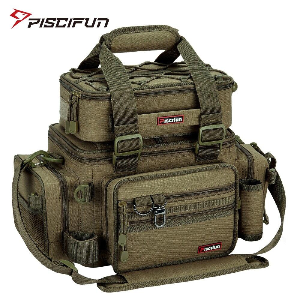 Piscifun Fishing Bags Tackle Bag Pack Large Cpacity Nylon Outdoor Waterproof Shoulder Hand Bag Camping Hiking
