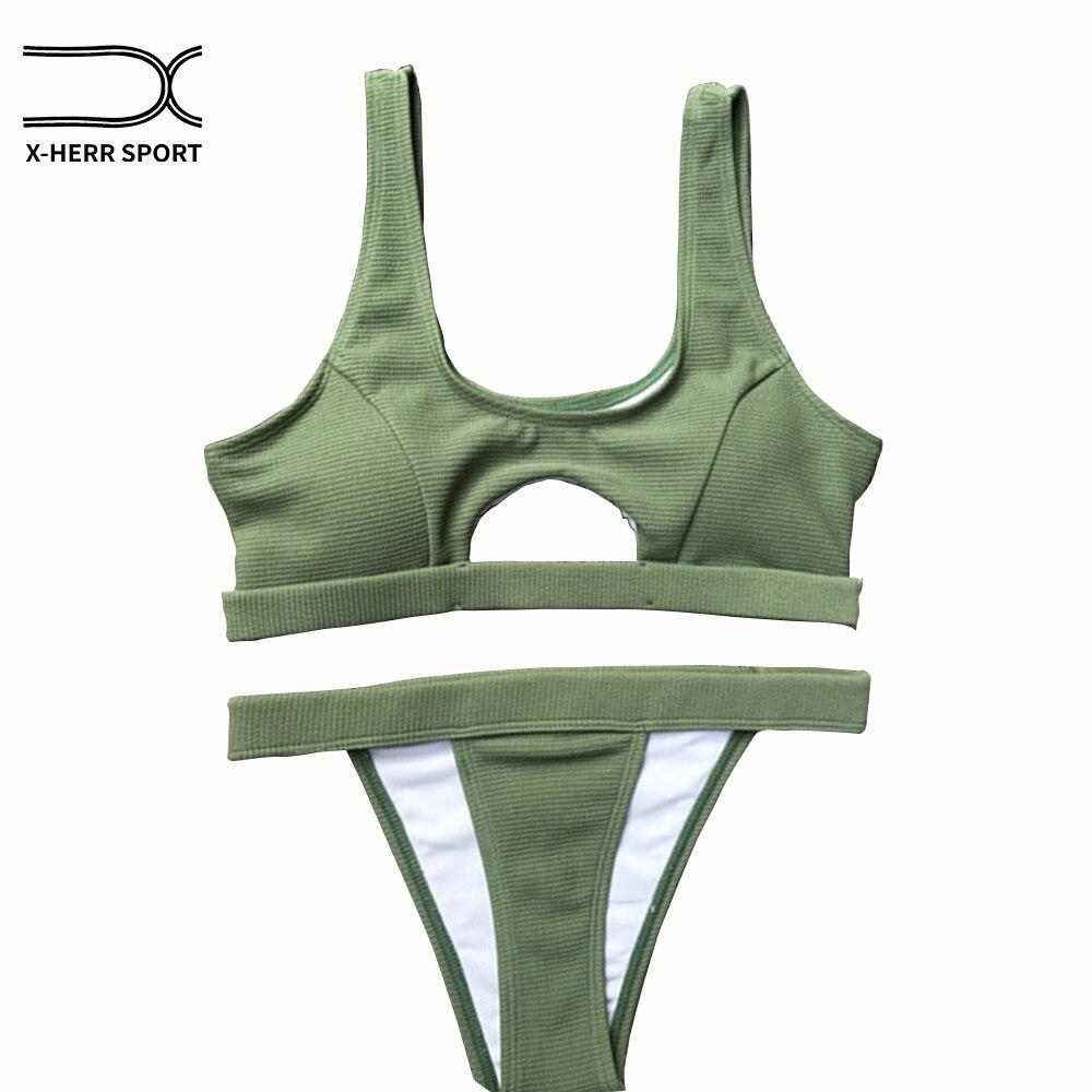 Bademode Frauen Höhlen Bandeau Bikini Push Up Reizvoller Fester Sport Badeanzug Micro Badeanzug Frauen maillot de bain femme 2018