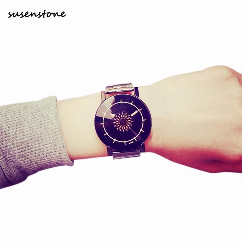 Susenstone Lover Watches Clock Dress Men Women Band Fashion Analog Quartz for 30 Stainless-Steel