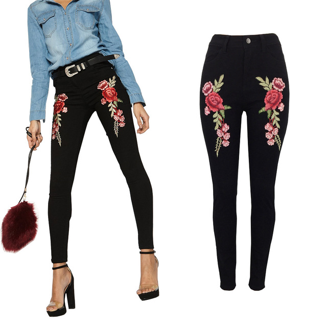 Pants Women Top Mid Button Fly Hole Woman Autumn And Winter Embroidery Hot Sale Europe The 2019 Temperament Personality Pants