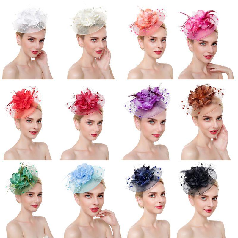 Ladies Mesh Big Blooming Flowers Feather Fascinator Hat Pompom Beaded Tea Party Wedding Bridal Hair Clip Headwear