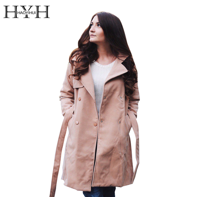 HYH HAOYIHUI 2017 Brand New Winter Fashion Women Lapel Single Breasted Trench Coat Solid Khaki High Quality Tie Waist Long Coat