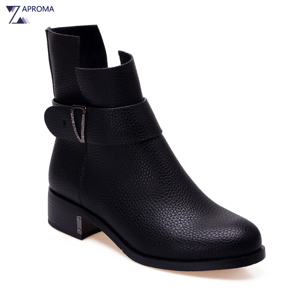 2018 Stylish Black Boots Ankle Crystal Buckle Strap Women Casual Shoes Fancy Zipper Spring Med Heel Silver Fall Square Heel Boot