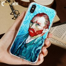 CASEIER 3D Emboss Phone Case For iPhone 6 6s Plus Soft TPU Cover X Van Gogh Self-Portrait Patterned Funda Capinha