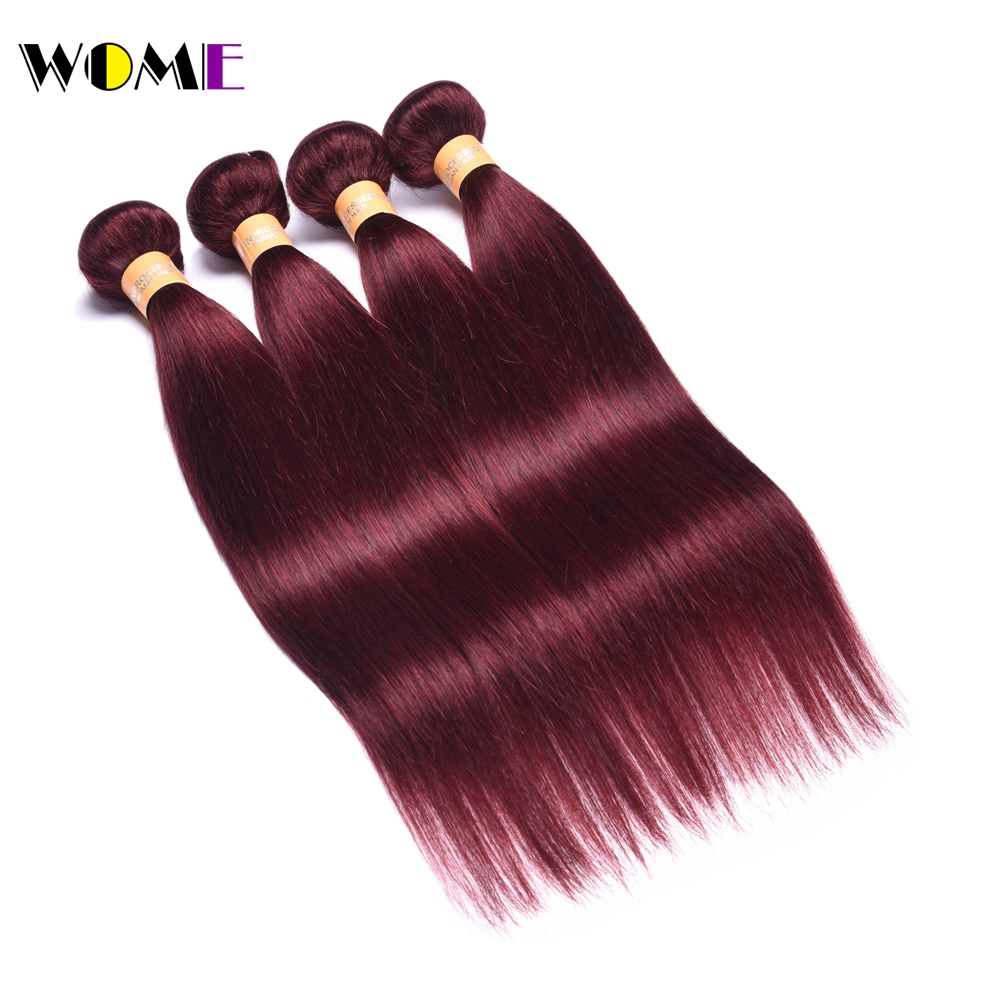Wome Pre colored 99J Red Wine Color Burmese Straight Hair Weave 4 Bundles Deal Human Hair