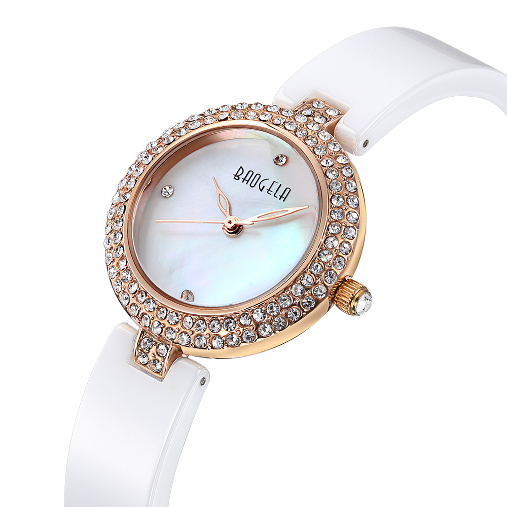 Baogela Women s Fashion Diamond Ceramic Quartz Wrist Watch white classic watch
