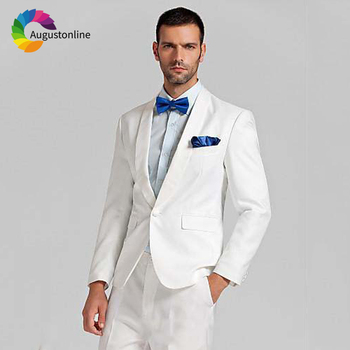 White Wedding Men Suits Tuxedos Shawl Lapel Groom Wear 2 Pieces (Jacket+Pants) Slim Fit Terno Bridegroom Blazer Costume Homme