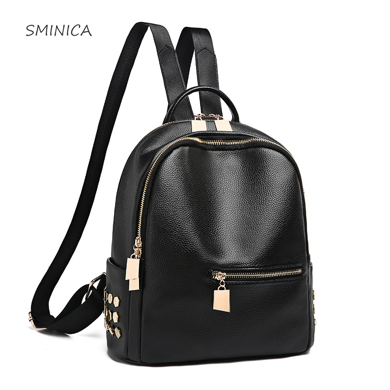 Casual Women Backpack Leather PU Female Shoulder Bags Quality Soft Black Back Pack Bagpack Bags Ladies 2018 New arrivals