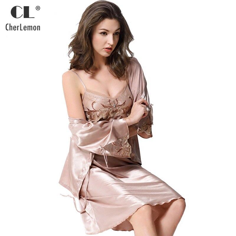 CherLemon 2 pièces femmes soie Satin vêtements de nuit Sexy dentelle broderie Robe et Robe ensemble dames léger Supersoft Slip Nighty