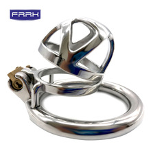 FRRK 304 Stainless Steel 3 Size Cage Lock Adult Game Metal Male Chastity Belt Device Penis Ring Bird Cock Sex Toys For Men все цены